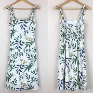 MONTEAU White + Botanical Leaf Print Summer Dress